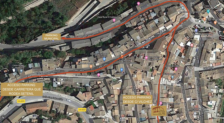 ubicación del parking público para aparcar en tu escapada rural a Setenil