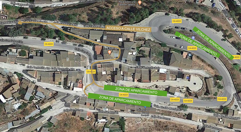 Esquema de zona de aparcamiento en escapada rural en Setenil