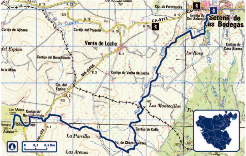 Ruta de los Bandoleros en mapa