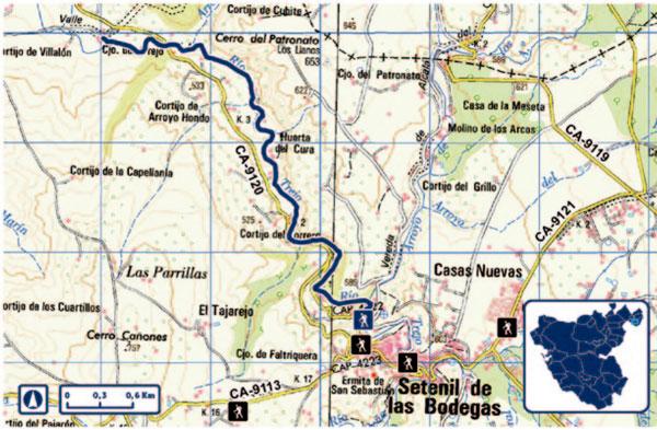 Ruta-escarpes del río Trejo de-Setenil-en-mapa
